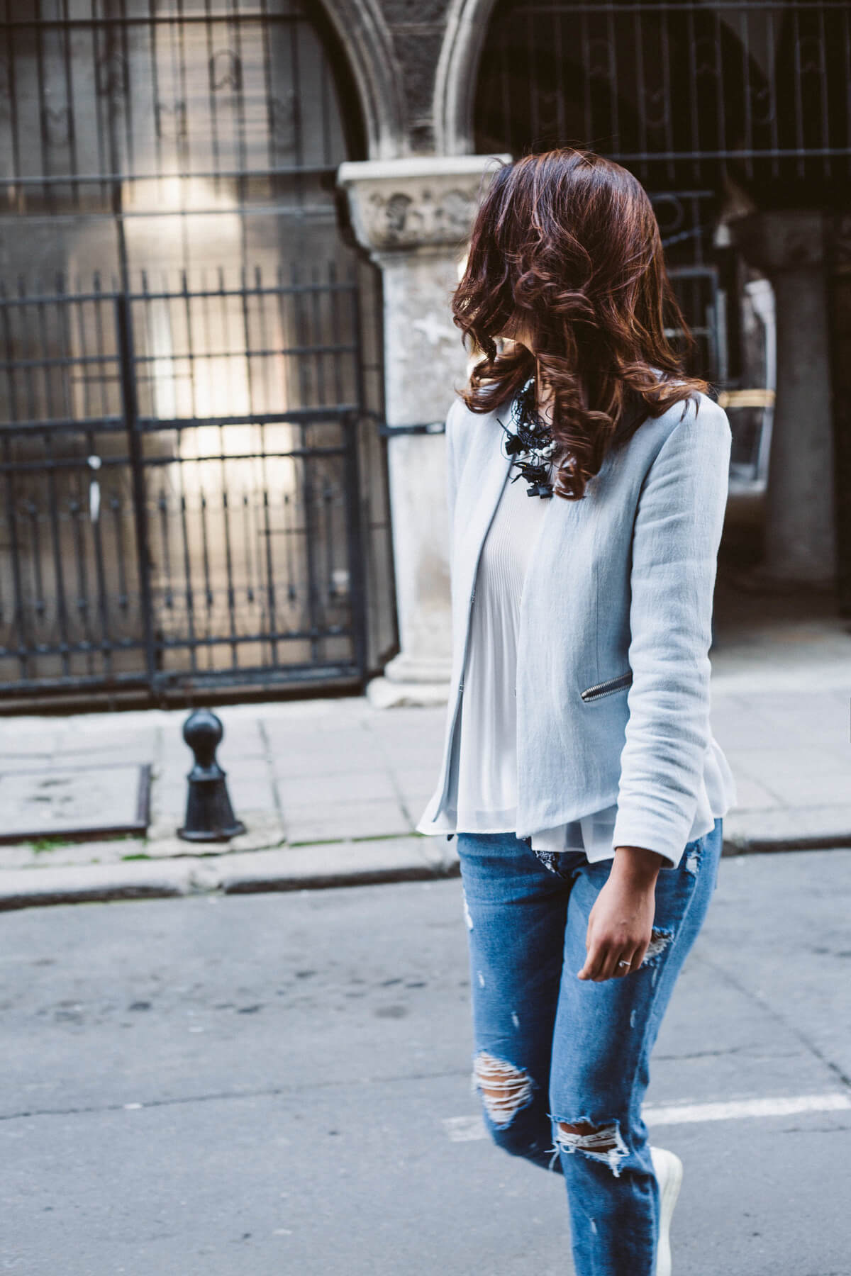 Blue outfit, jeans and jacket
