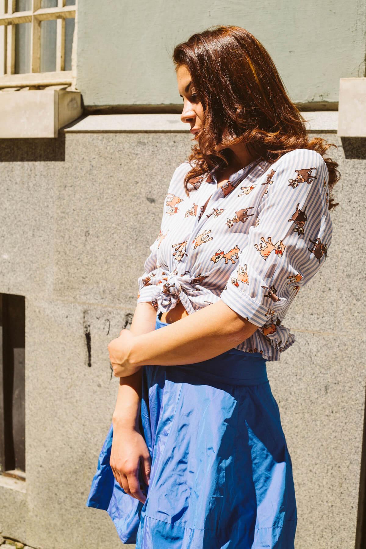 blue skirt and bambi shirt