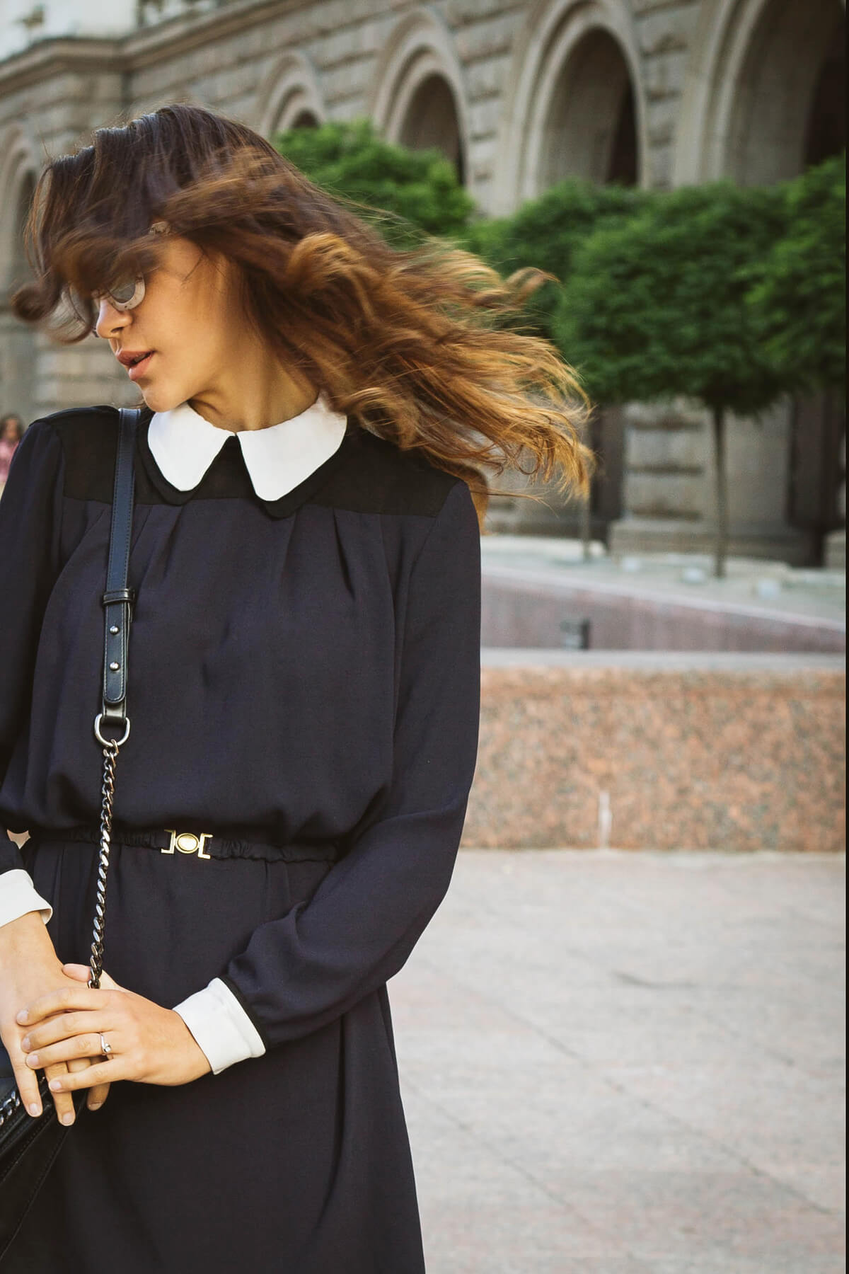 Dress with white collar