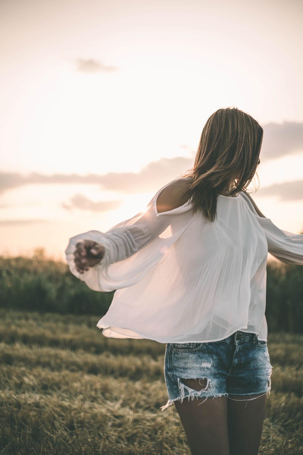 White blouse on sunset
