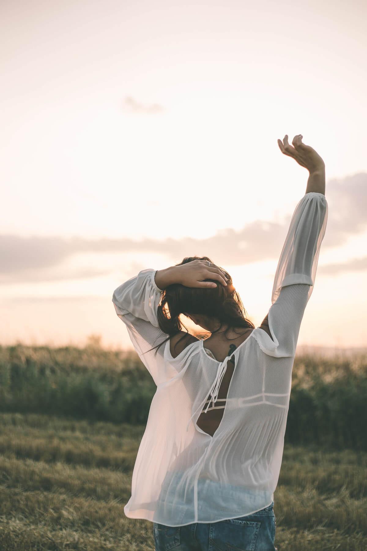 White blouse on sunset - back